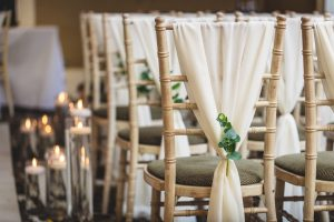 White Chiffon Drop Chair Decoration with Artificial Eucalyptus Sprig