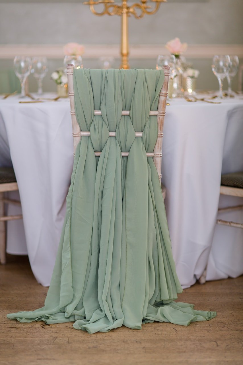Sage Green Chiffon Weave Chair Decoration on Chiavari Chair