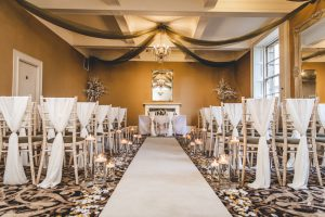 Ivory Chiffon Drops and Ivory Aisle Runner