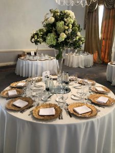 6ft Round Ivory Tablecloths and Gold Glass Floral Leaf Charger Plates