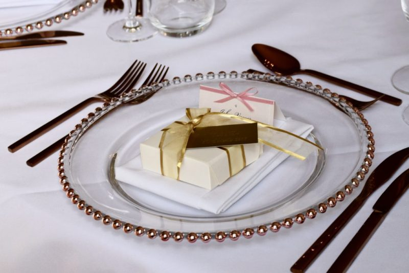 Rose Gold Beaded Charger Plate, Gold Cutlery and Favour