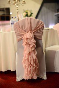 White Spandex Chair Cover and Blush Pink Chiffon Ruffle Hood