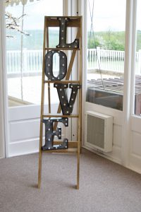 Rustic Ladders with Light Up Carnival LOVE Letters