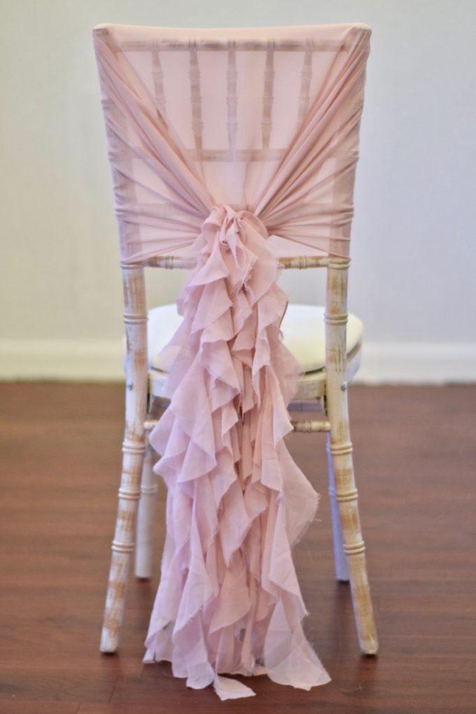 Blush Pink Ruffle Hood on Chiavari Chair