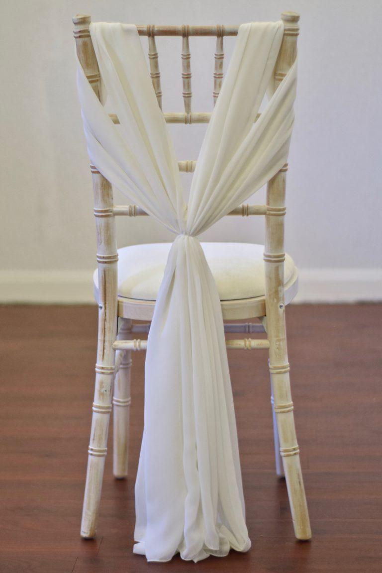 Ivory Chiffon Heart Drape on Chiavari Chair