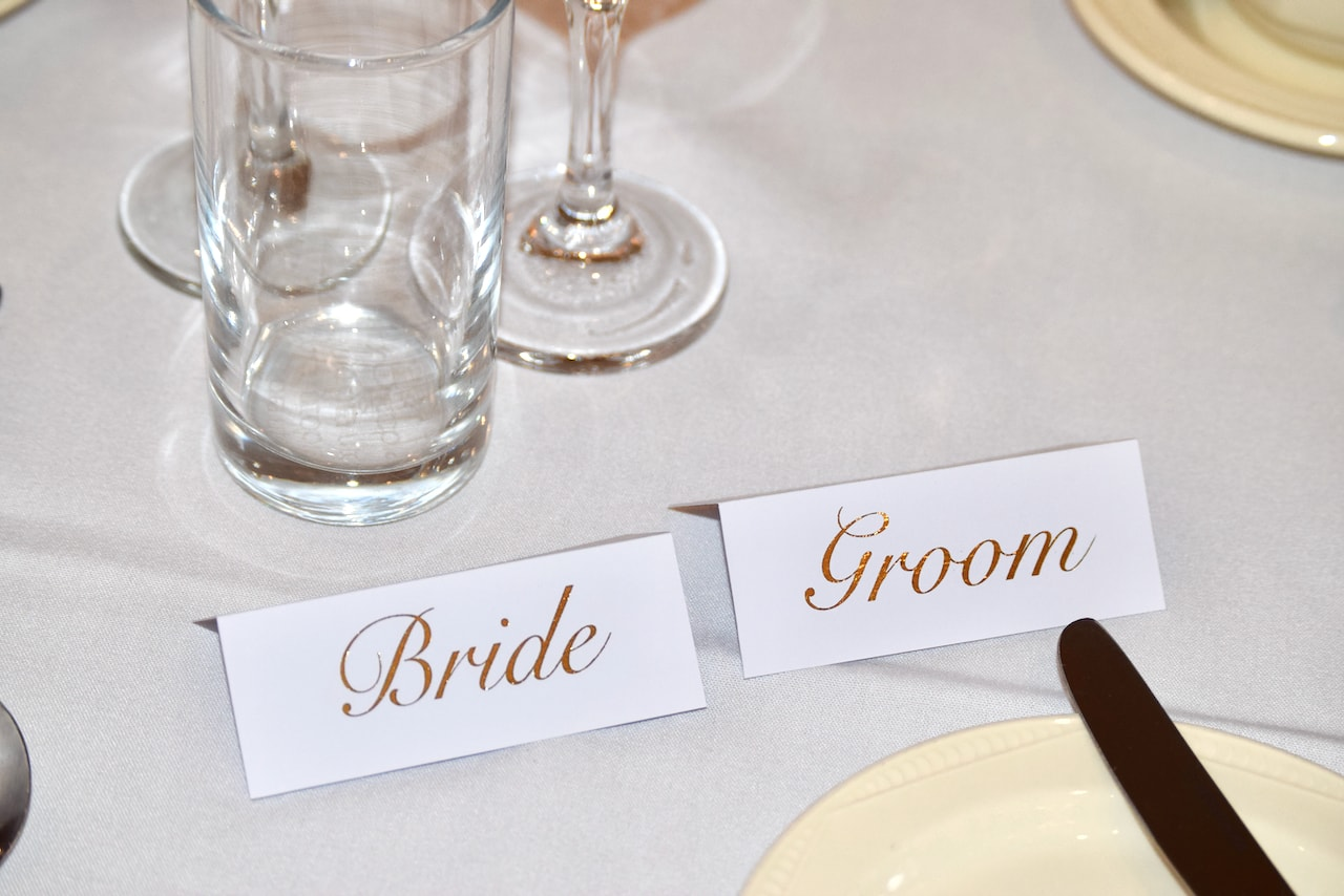 Bride and Groom Gold Foil Place Names