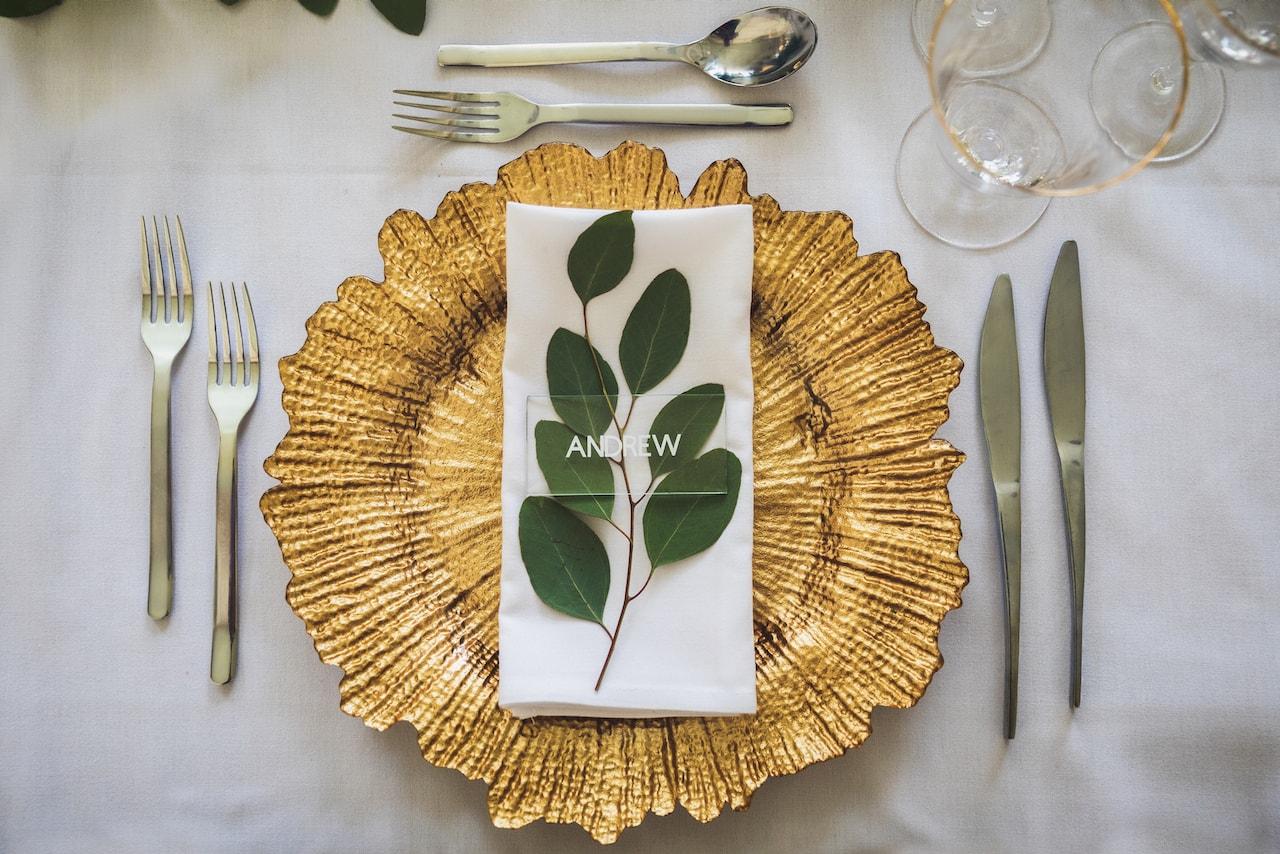 Gold Leaf Floral Charger Plate