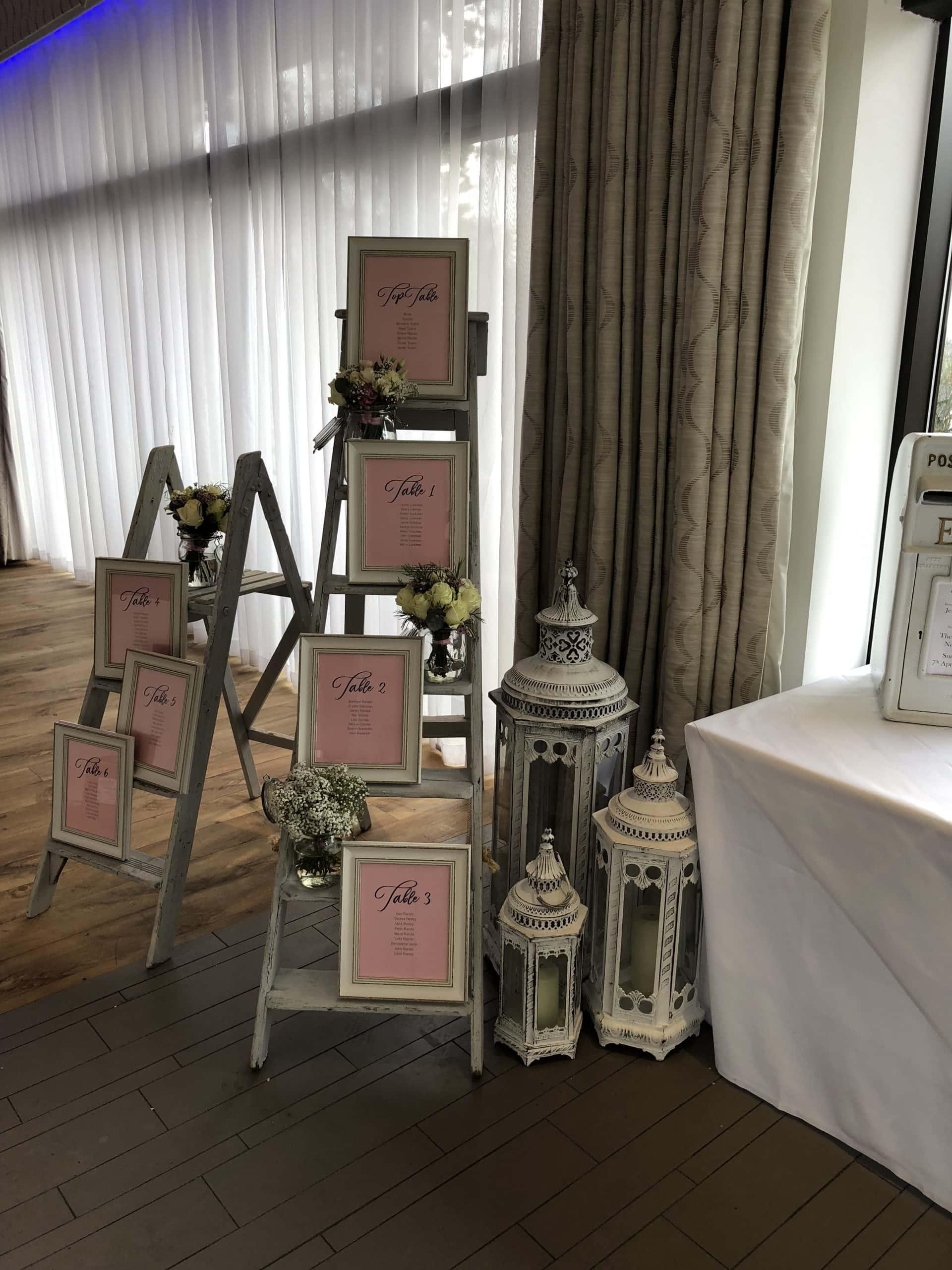 Ladder Seating Plan Complete with Lantern Arrangement