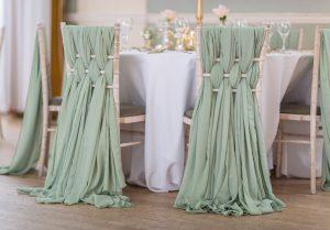 Sage Green Chiffon Weaves on Chiavari Chairs
