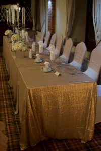 Sequin Table Cloths with White Spandex and Nude Pink Ruffle Hoods