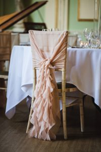 Nude Pink Chiffon Ruffle Hood Chair Decoration on Chiavari Chair