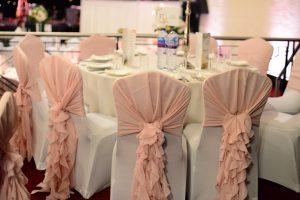 White Spandex with Blush Pink Ruffle Hood