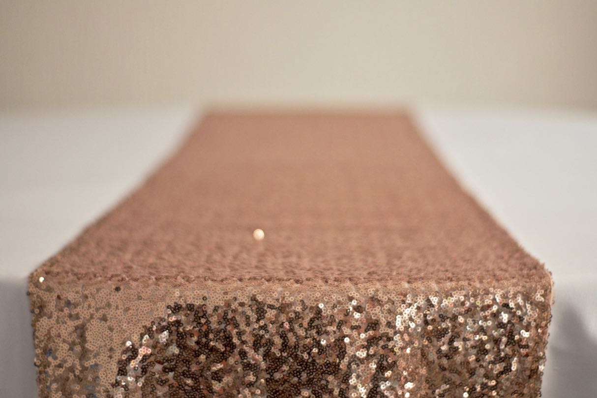 Rose Gold Sequin Table Runner on White Table Cloth