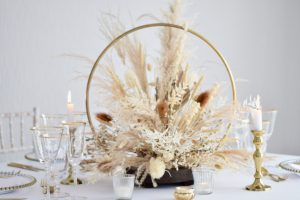 Gold Hoop Centrepiece with Dried Floral Arrangement and Accessories