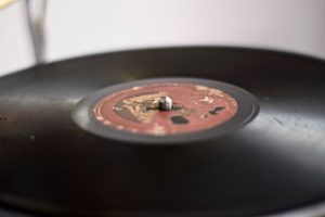 Close Up of Vinyl on Vintage Gramophone